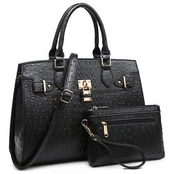 Women#x27;s Faux Ostrich Leather Handbag Set Satchel for Work with Matching Pouch $45.99