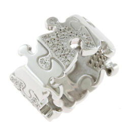 Ring Silver 18k K18 White Gold Diamond0.61ct Puzzle Piece Pave Wide From Japan