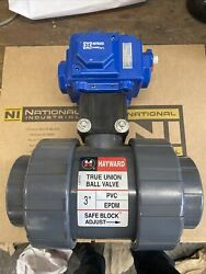 3and039and039 Hayward True Union Ball Valve Pvc With Co C25-sr-2c Comp Pneu Actuator