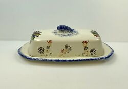 Spongeware Type Pottery Butter Dish Chicken Pattern Hand Painted Signed
