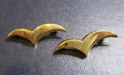Pair Of Vintage Paloma Picasso Seagull Bird Pins 18k Gold By And Co.