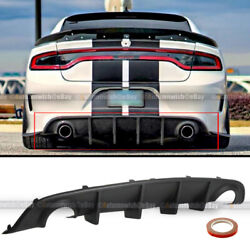 For 15-20 Dodge Charger Oe Style Pp Rear Bumper Diffuser Shark Fin Lip Body Kit