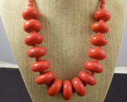 Vintage Antique Chunky 167gram Red-orange And Pink Bead Coral Necklace Sterling