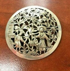 Vintage Indochina Sterling Silver Pin/brooch Farming [041hiw]