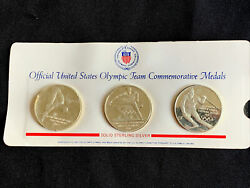 3 Sterling Official Us Olympic Team Comm. Medals 1971-1972 - 3oz Solid Silver