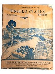 Vtg 1935 Gallup Comprehensive Atlas Of The United States Canada Mexico - Vintage