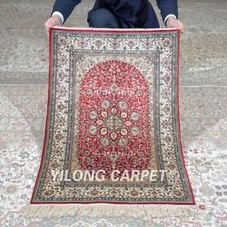 Yilong 2'x3' 500lines Handknotted Silk Tapestry Quality Red Indoor Rug Mc560h