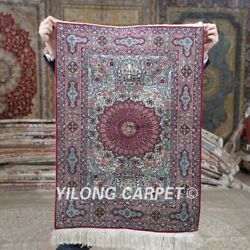 Yilong 2'x3' 500lines Handmade Silk Red Tapestry Small Size Indoor Rug Mc564h