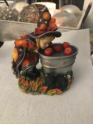 Bobbing For Apples Lenox 2003 Witch And Pail Of Apples And Black Cat Nib 49949