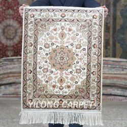 Yilong 1.5and039x2and039 Handmade Silk Carpet Home Office Floral Antistatic Rug Mc606b