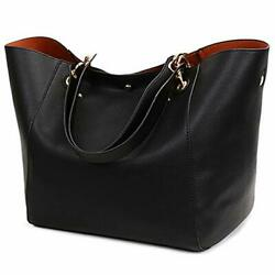 Tote Handbags for Women Faux Leather Hobo Bags Large Bucket Travel Purse Black $41.45