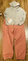 Victoria's Secret Pink Outfit Zip-up Hoodie And Campus Pants Large