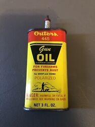 Vintage Outers 445 Gun Cleaning Firearm Oil Can Advertising Hunting