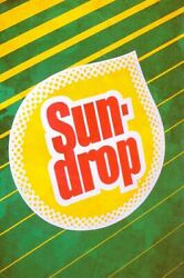 1980s Vintage Style Logo Sundrop Soda Heavy Duty Usa Made Metal Advertising Sign
