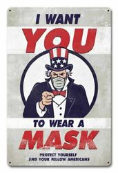 I Want You To Wear A Mask Uncle Sam Pointing 18 Heavy Duty Usa Made Metal Sign
