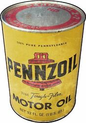 Pennzoil Motor Oil 1960 Logo Quart Can Shaped Heavy Duty Usa Made Metal Adv Sign