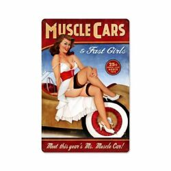 Risque March 1976 Muscle Cars And Fast Girls 18 Heavy Duty Usa Made Metal Ad Sign