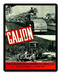 Galion Iron Works Ohio Construction Equip 15 Heavy Duty Usa Made Metal Adv Sign