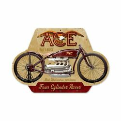 Ace Motorcycle Four Cylinder Racer Eagle 17 Heavy Duty Usa Made Metal Adv Sign