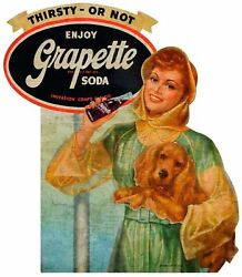 Grapette Grape Soda Pop Girl With Dog Heavy Duty Usa Made Metal Advertising Sign