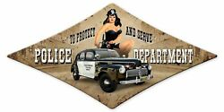 Risque San Diego Police Dept 28 Diamond Shaped Heavy Duty Usa Made Metal Sign