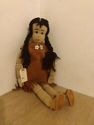 Large Vintage Handmade Native American Indian Girl Doll Very Beautiful And Rare