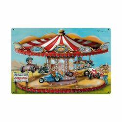 Car Crazy Kids Carousel Classic Cars 36 Wide Heavy Duty Usa Made Metal Sign