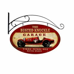 Busted Knuckle Garage Race Car 24 Double Sided Heavy Duty Usa Made Metal Sign
