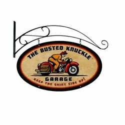 Busted Knuckle Garage Bike Rider 24 Double Sided Heavy Duty Usa Made Metal Sign