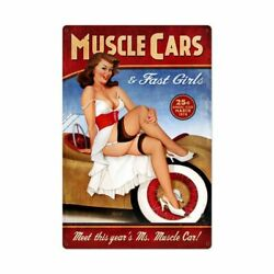 Risque March 1976 Muscle Cars And Fast Girls 36 Heavy Duty Usa Made Metal Ad Sign