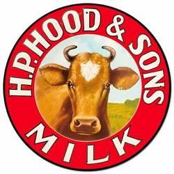 H.p. Hood And Sons Milk Cow Heavy Duty Usa Made 28 Round Metal Advertising Sign