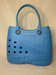 Optari Sol Tote Croc Shoulder Rubber Waterproof Beach Bag Handles Blue $37.99