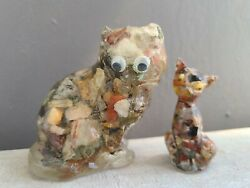 Resin Vomit Art Cat Figurines Lucite w Rocks and Googly Eyes PAIR Kitty Cats Vtg