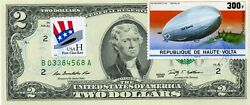 2 Dollars 2009 Stamp Cancel 75th Anniversary Of First Zeppelin Flight 150