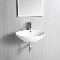 20 X 16 White Wall-mounted Oval Bathroom Ceramic Vessel Sink With Faucet Hole