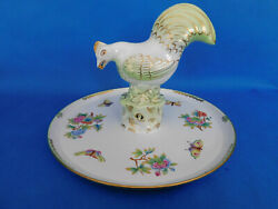 Herend Viktandoacuteria Pattern Offering Cock With Pliers Plate Porcelain