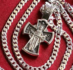 Russian Orthodox Jewelry Set Body Cross Mother Of God Sign Chain Set Silver 925