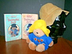 1983 Paddington Bear Vhs Tapes Vol. 1 And 2 White Clam Stuffed Plush Suede Hat Lot