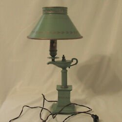 Vintage Sage Green And Gold Painted Tole Metal Aladdin Genie Lantern Table Lamp