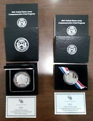 2011 Us Army Silver 1 And Clad Half Dollar Proof Coins W/boxes Sleeves And Coas