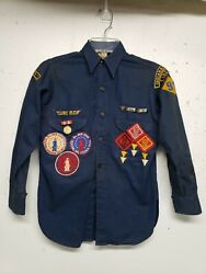 Vintage 40s Boy Scouts Of America Shirt W/rare Patches Bsa War Loan Wwii Ww2