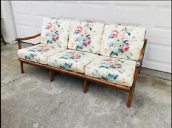 Vintage Ficks Reed Mid Century Modern Rattan Couch John Wisner Campaign Style