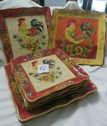 Maxcera Square 2 Orange Rooster 2 Red Roster And 4 Salad Red Rooster Plates