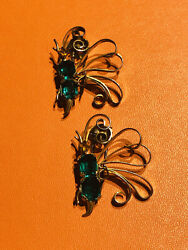 Vintage Sterling Silver Green Yellow Crystal Butterfly Pair Clip Brooches