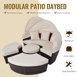 5pc Patio Furniture Set Rattan Daybed Round Table 4 Chairs Pillows And Cover Beige