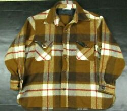 Vtg Abercrombie And Fitch Menand039s Brown Plaid Wool Blend Flannel Shacket 50s/60s