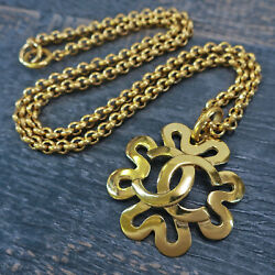 Rise-on Gold Plated Cc Logos Clover Charm Vintage Necklace Pendant 137c