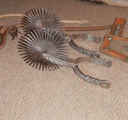 Antique South American Chilean Gaucho Horse Riding Silver Large Rowell Spurs.etc
