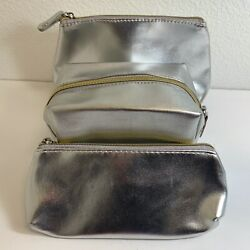 Macy's Silver Make up Cosmetic Bags Set of 3 Zippered Silver Bags NWOT $9.97
