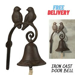Cast Iron Dinner Bell Front Door Wall Mounted Rustic Birds On Tree Antique Style
